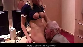 Cheated wife punish hard her old husband and his secretary